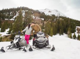 Jones pass empire snowmobile engagement photos