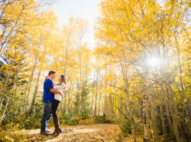 Fall mountain colors on Guenella Pass engagement photos