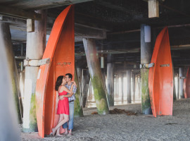 santa monica pier destination engagement photos