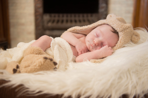 Newborn Baby in Bear outfit photos