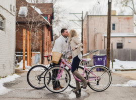 downtown denver bike engagement photos