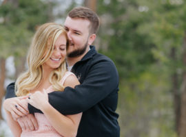 lookout mountain engagement photos woods snow