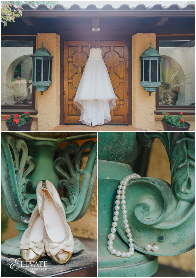 brides dress shoes and pearls