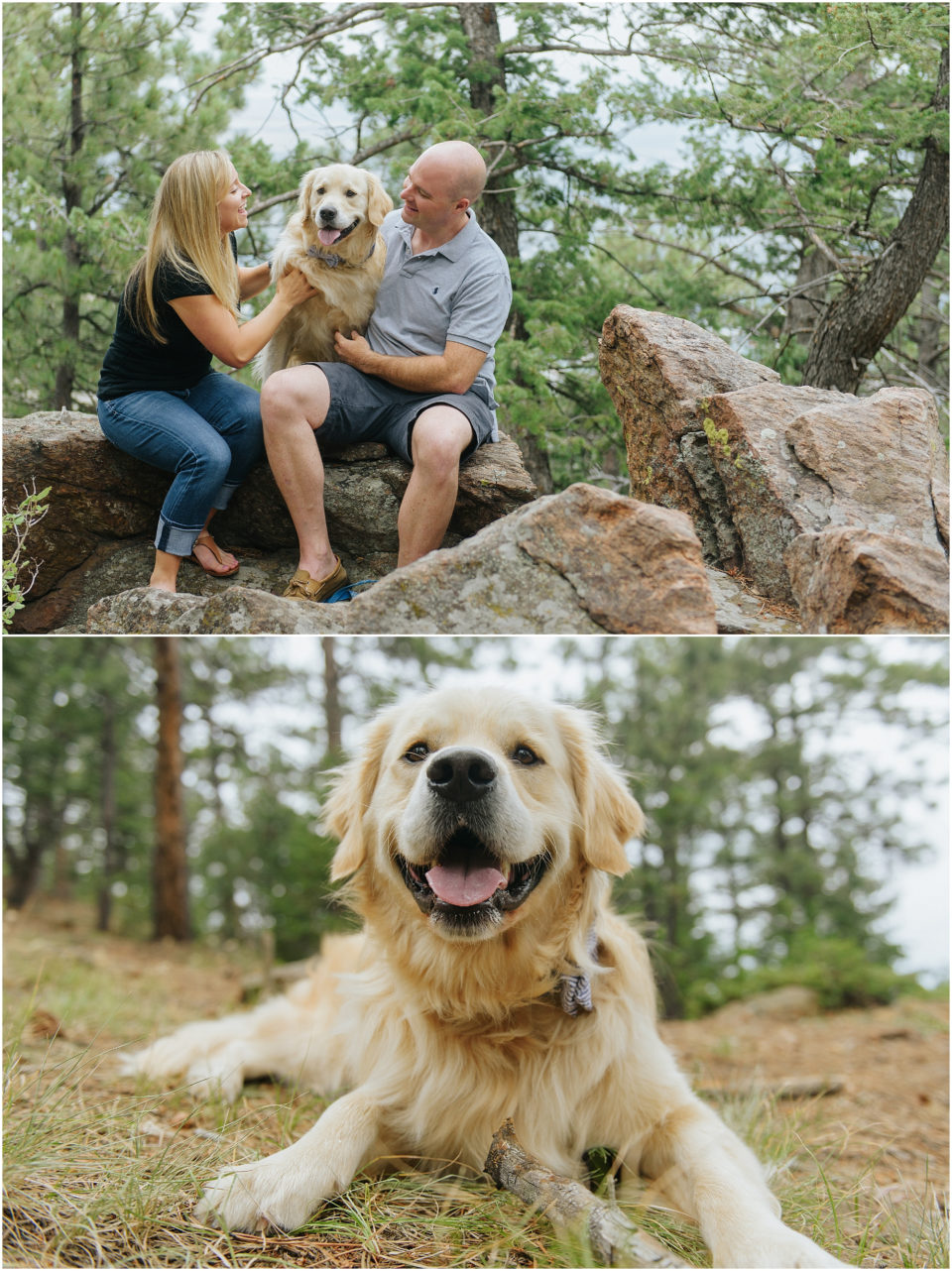 Playing with the dog in the mountains.
