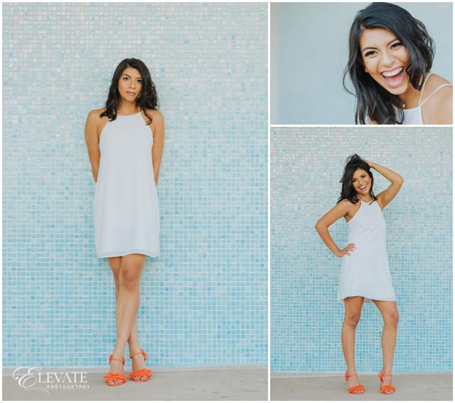 senior orange heels white dress