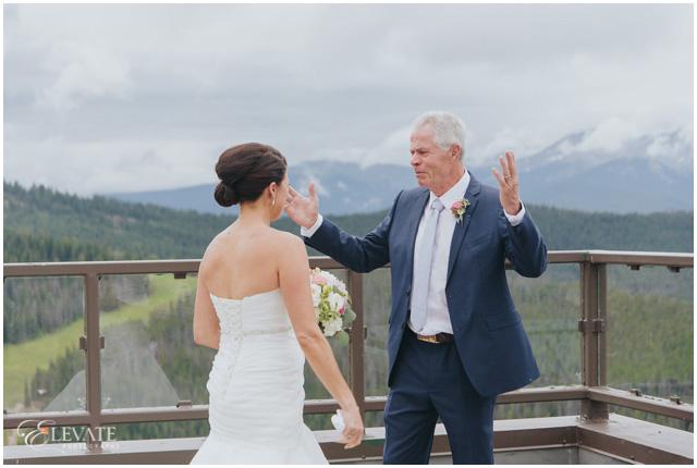 vail wedding deck first look