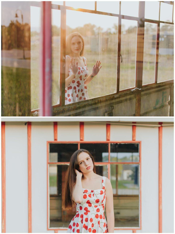 vintage gas station red dress senior girl