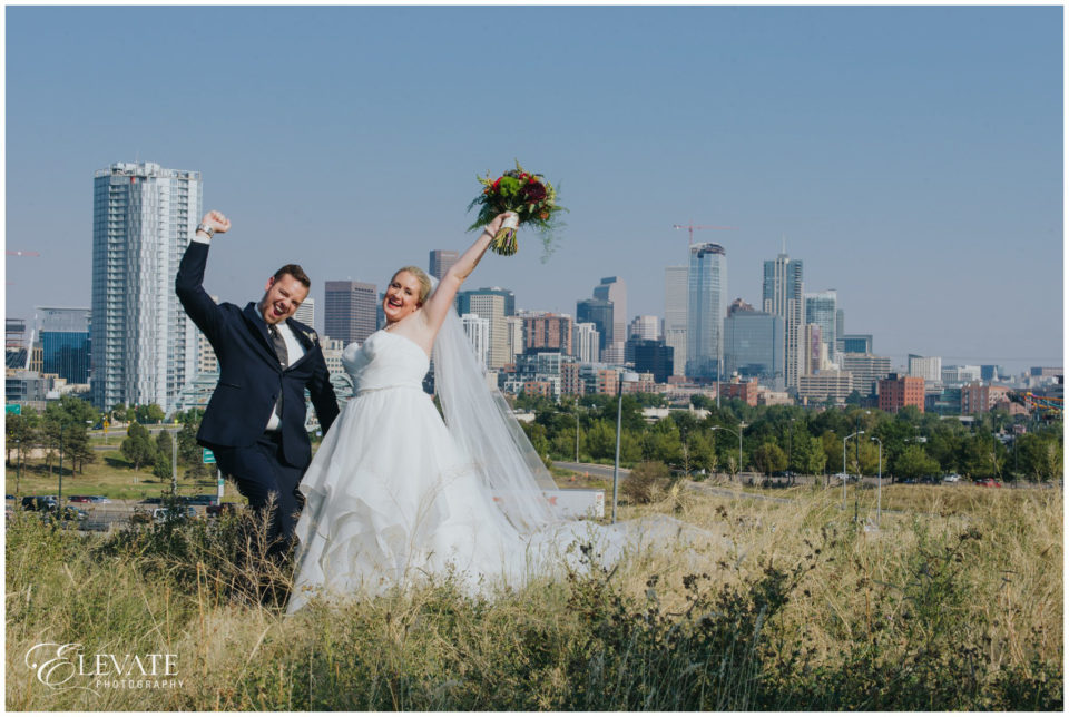 bride groom denver skyline
