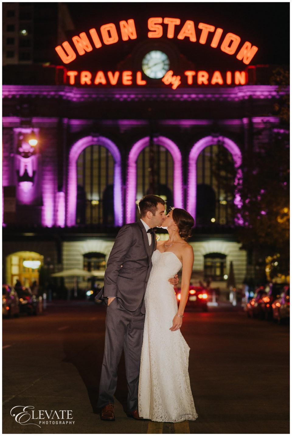 night wedding portrait union station