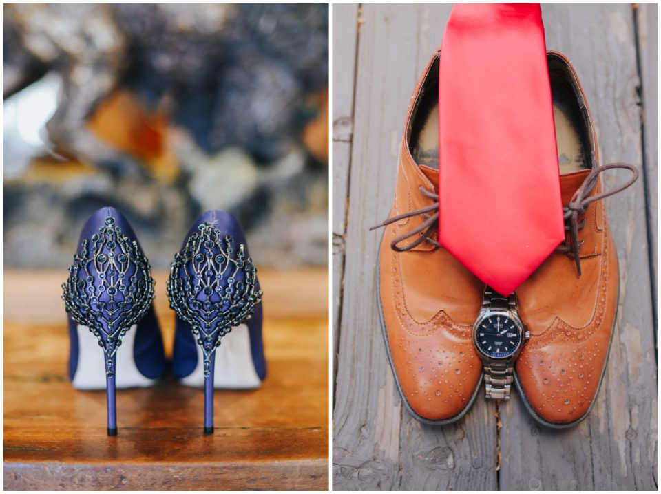 bride groom tie shoes